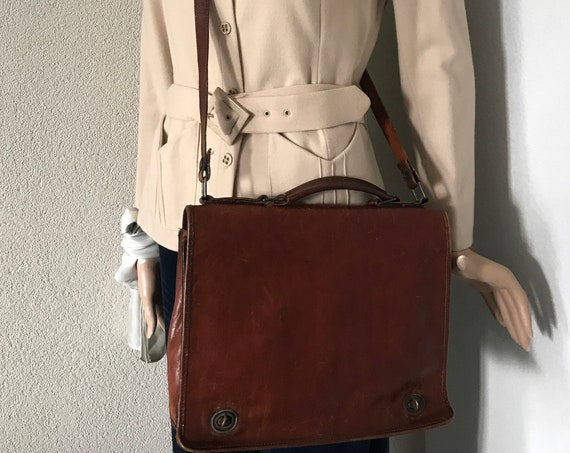 Vintage shoulder bag | book bag |laptop bag | business bag | schoolbag | Création Gabrielle | burgundy | brown