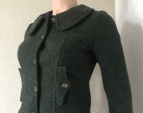Handmade jacket and skirt | wool | seventies | battledress | moss green | unique item | one of a kind | small size