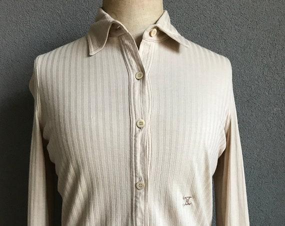 Vintage Céline blouse | designer top | woolen blouse | wool top | French blouse | small | beige blouse