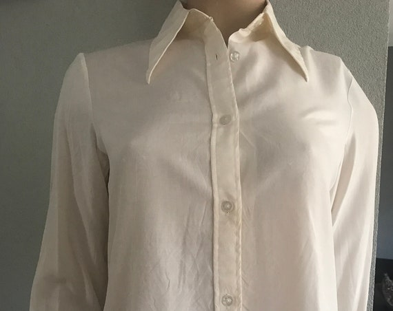 Vintage silk blouse | offwhite top | de Bijenkorf | pointed collar | Dutch made |  party blouse | Christmas | size S EUR 36