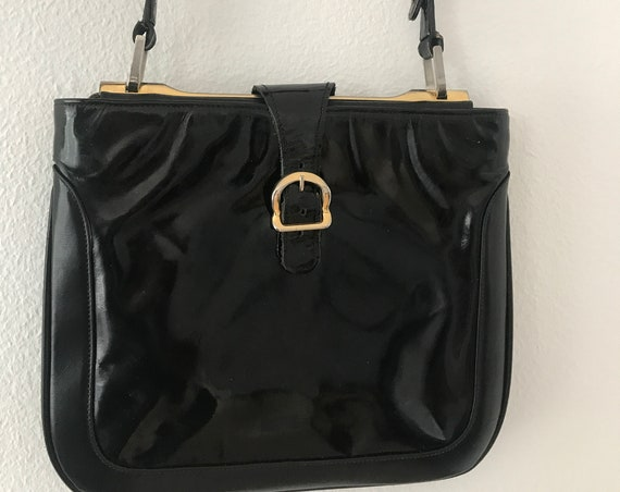 Asprey of London | vintage handbag | patent leather | black stylish bag | designer bag | high end bag | Made in UK | sixties