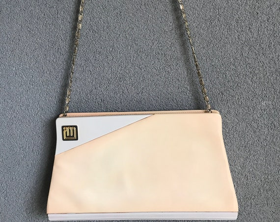 Vintage Maurizio Righini | patent leather salmon | leather handbag | bag | Roma | Italian design | sixties | clutch | purse | shoulderbag
