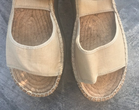 Vintage linen sandals | Georges Rech Sport| platform shoes | Open shoes | Designer | Rope sandals