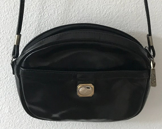 Vintage patent leather bag | party bag | stylish | Festival | Crossover | shoulder bag | black | pourchet | paris