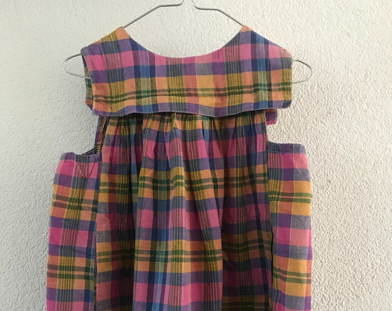 Vintage Oilily dress | Pinafore | girls dress | checkered | Dutch brand | Nineties | 4T | EUR 104 | Summer dress | Apron | Cotton
