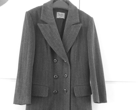Vintage classic coat | jacket | Novelti | grey | eighties |  wool | striped | long blazer | stylish