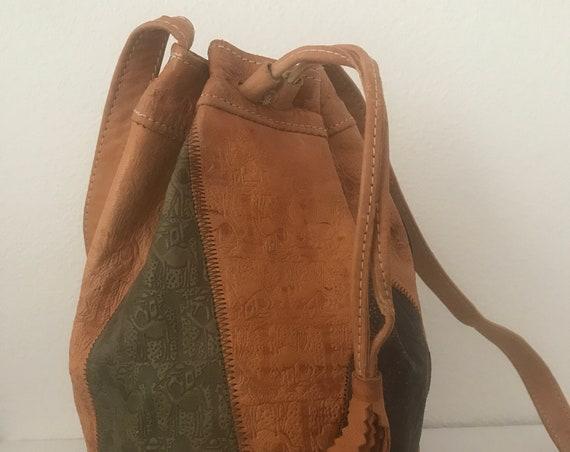 Vintage drawstring bag | tooled bag | Hippie bag | Boho shoulder bag | leather shoulder bag | Egyptian | camels | crossover bag | multicolor