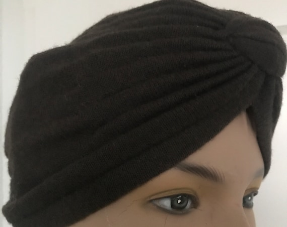 Vintage turban | brown knitted fabric | pleated fabric | one size | sixties turban | brown hat | wool turban