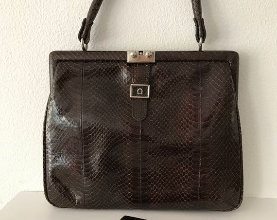 Vintage darkbrown snakeskin leather handbag including matching wallet