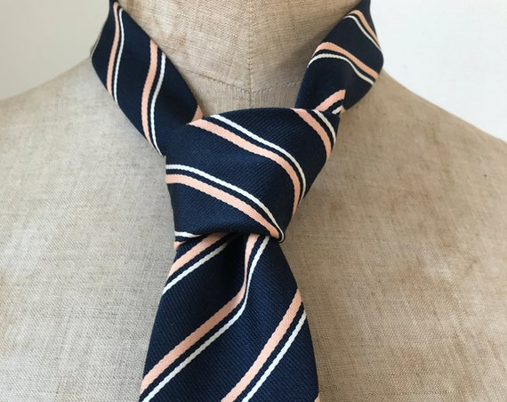 Vintage tie | Balenciaga | polyester | stripes | designer | France | blue | Christmas tie | party