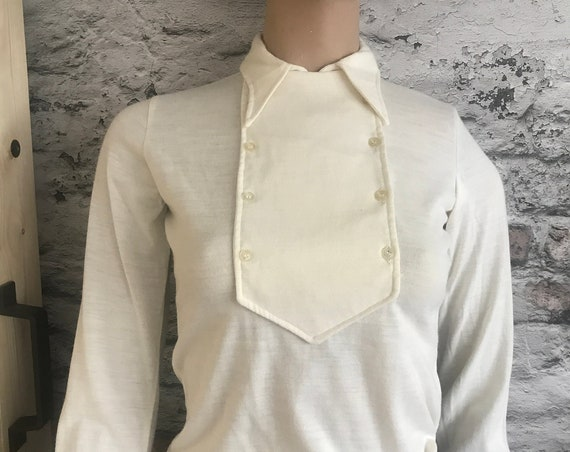 Vintage Saint-Clair blouse | offwhite tricot | pointed collar | shirt | nineties top | wool blend | French design | small size