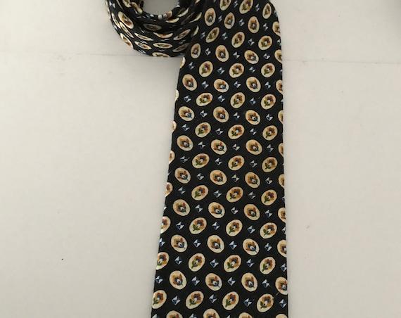 Vintage tie | Valentino | silk | colorful print | designer | Italian