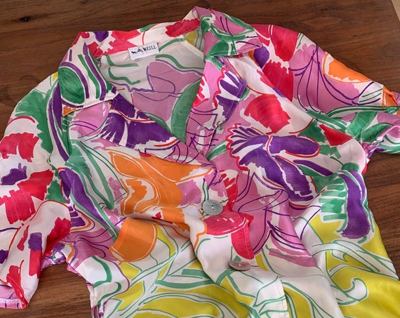 Vintage blouse | silk | Weill | top | colorful | nineties | Paris | French design | size EUR 42 USA 12 UK 16