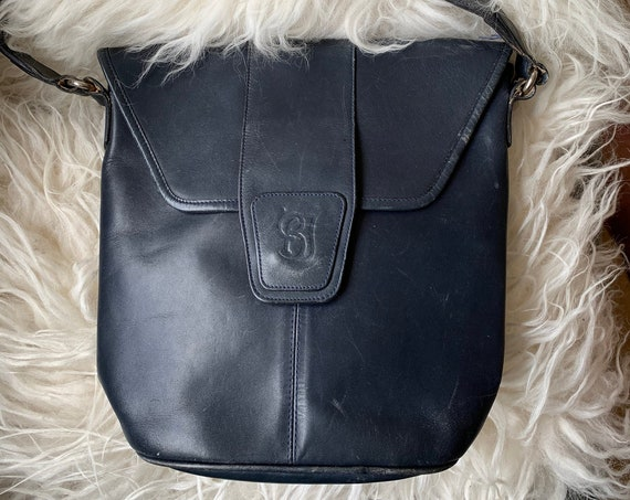 Vintage dark blue shoulder bag | leather bag | crossbody | crossover | logo BJ | purse