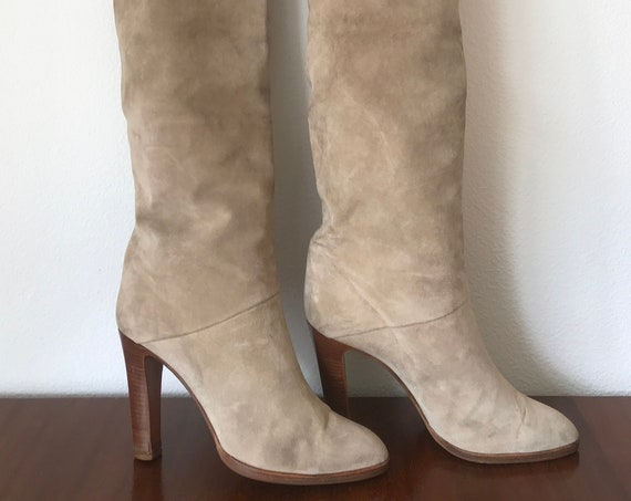 Mignani boots | Over the knee | OTK | Made in Italy | beige suède | nineties boots | high heels