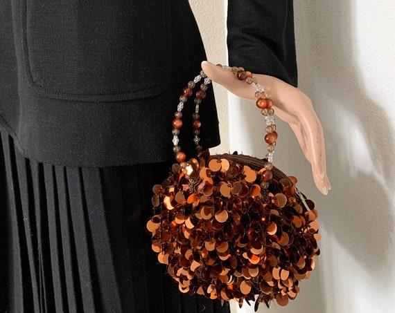 Vintage evening bag | spangles purse| bridal bag | copper spangles | nineties | party bag | prom purse | wedding | beads handle | Christmas