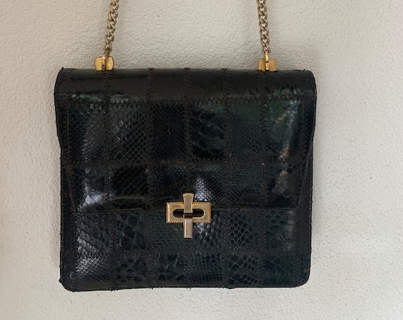 Vintage shoulder bag | snake leather | black stylish bag  | nineties | gold colored strap | Cross body bag