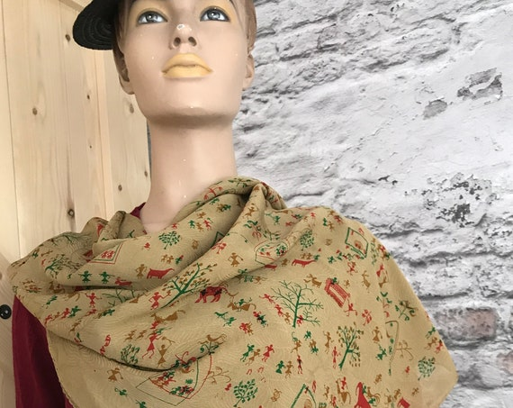Vintage Satya Paul | silk scarf | India designer | hand rolled | exclusive | silk crepe fabric | design label | large | square