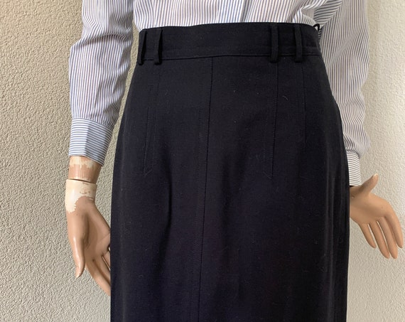Vintage skirt | eighties skirt | Leeser | wool | black skirt | designer vintage | pleated split | size EUR 40 - Medium