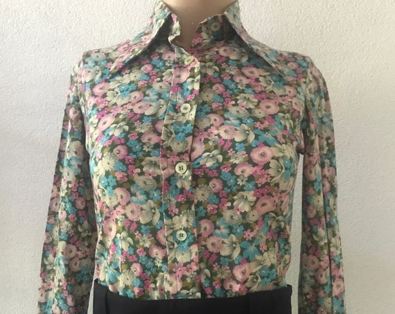 Vintage blouse | flower blouse | designer top | PP | colorful flowers | cotton blouse | bloes | pointed collar | XS | small size