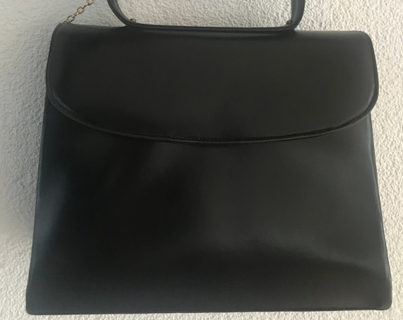 Vintage handbag | black leather | top handle bag | B. Altman & Co. | lucite ball | made in France | eighties
