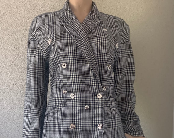 Vintage Lutz Teutloff | colbert | jacket | blazer | designer | West Germany | eighties | pied de poule | gingham | wool | silk | size EUR 40