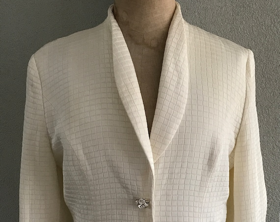 Vintage eighties Frank Usher offwhite jacket or blazer, size UK 10 EUR 38 US 6