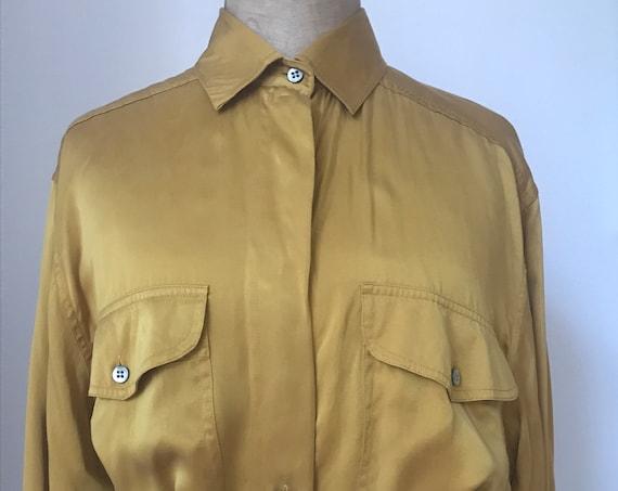 Vintage blouse | Redford | silk | yellow | top | oker | mustard | blouse | shirt | nineties | oversized