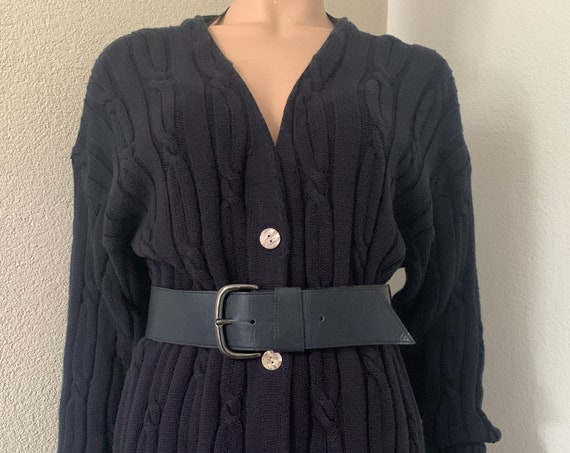 Vintage cardigan | dark blue | Hecht design | cotton | cable knit | large size | long