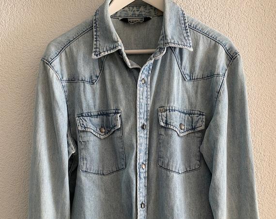 Vintage Salt Valley | jeans blouse | blue | cotton | nineties | mens wear | size L
