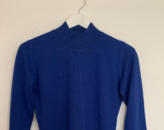 Vintage sweater | Louis Féraud | cobalt blue | merino wool | pullover | long sleeve | French designer | turtleneck | size EUR 36 / small