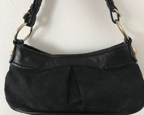 Vintage Donna Karen | DKNY bag | black designer bag | leather with fabric | nineties bag | shoulder bag | handbag