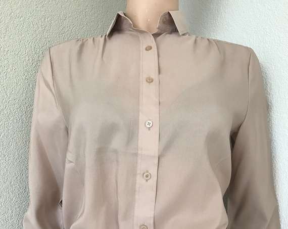 Vintage blouse | Mario Rosella | beige | stylish | top| polyester | Italian designer | new old stock