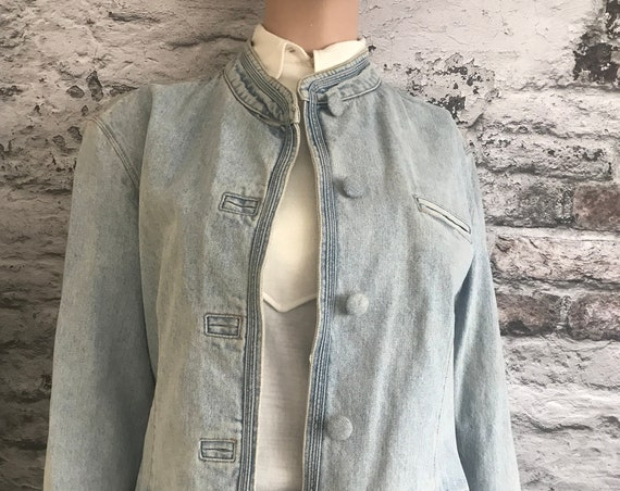 Vintage Armani Jeans | jeans jacket | denim blazer, faded denim | Mao collar | size USA 10, UK 14, EUR 40