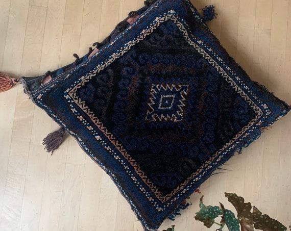 Kelim cushion   saddlebag cushion   antique kelim   handmade   square cushion   blue tones