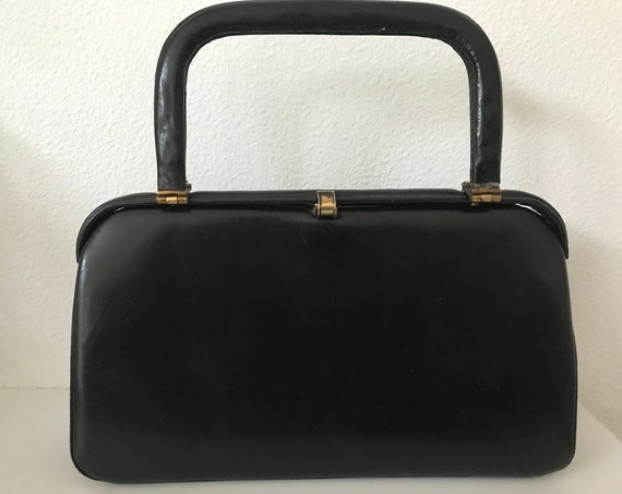 Vintage black leather handbag | fifties black bag | top handle bag | rare hand bag |