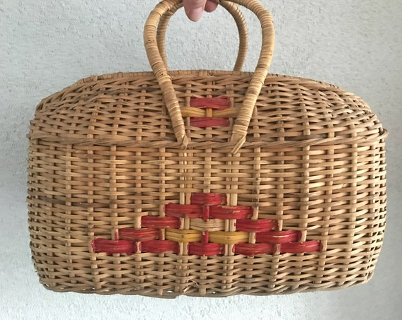 Vintage basket | Rattan handbag | Wicker | Shopping basket | Market bag | Handbasket