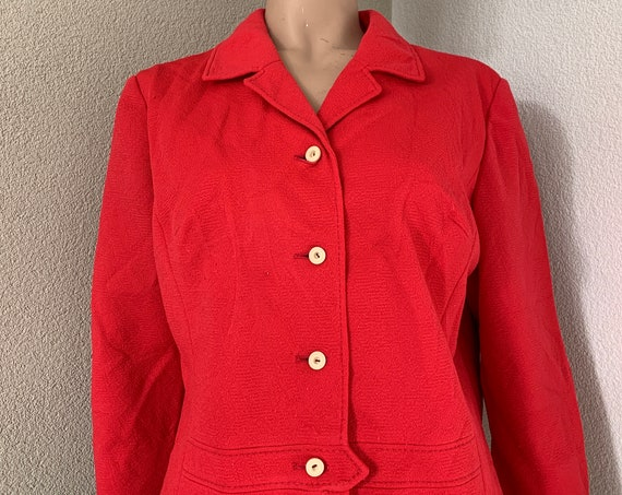 Vintage jacket | Fifties blazer | coral red jacket | colbert | size L - XL | large size | Jersey | 3/4 sleeve