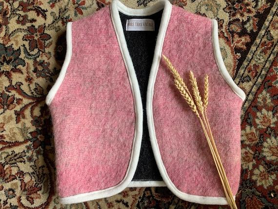 Handmade waistcoat | cardigan | wool |  reworked blanket | up cycled | pink | bodywarmer | size 92 / 2-3 yrs