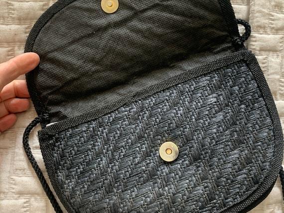 Vintage shoulder bag | straw | dark blue | eighties bag | cross body bag | Italian design