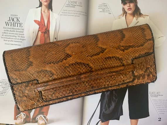 Vintage bag | brown leather | snakeskin | clutch | purse | party bag | evening bag| sixties
