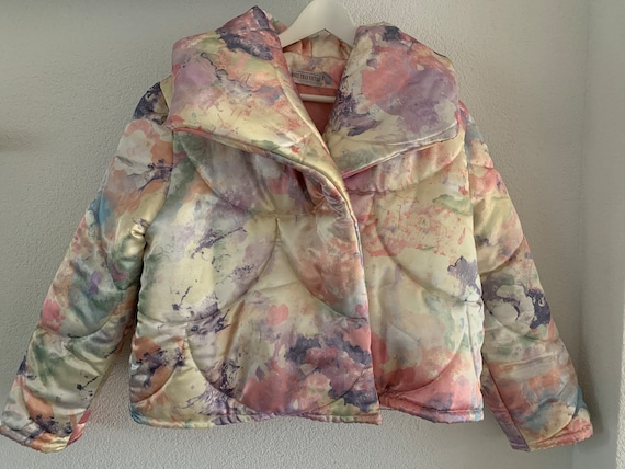 Handmade coat   hand tailored quilted duvet coat   jacket    matching hair bow   reworked vintage   quilted jacket   puffer   sailor bow