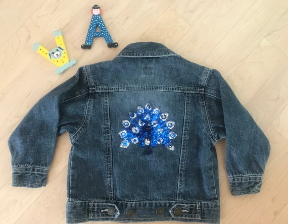 Vintage jeans jacket | up cycled jacket | kids jacket | Vintage kids | peacock application | spangles | beads | 2T 3T