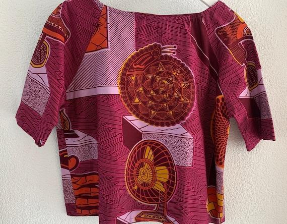 Handmade top | Vlisco fabric | cropped | blouse | cotton | Dutch wax | cotton | purple | pink | size M
