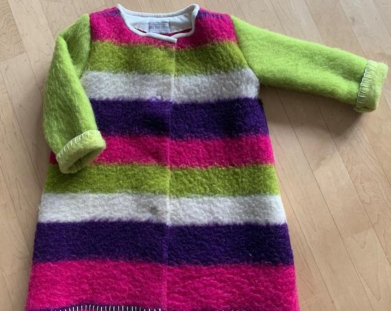 Handmade blanket coat   wool girls jacket    wool blanket coat   handmade wool coat   girls wool coat   striped   colorful   size 116