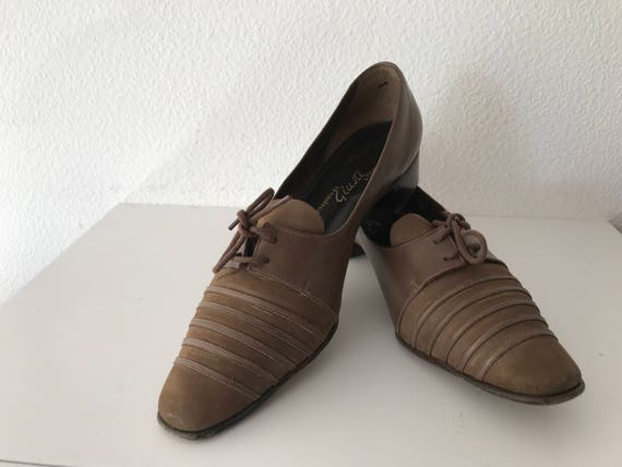 Vintage brown calf leather suède shoes by Giusti AGL, size 4,5C - 37,5