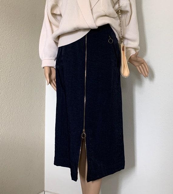 Vintage skirt | nineties | darkblue | high waist | Canvas | midi | EUR 36 - 38