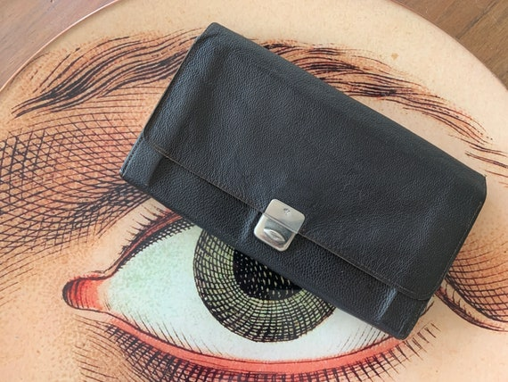 Vintage wallet | black leather | little purse | paper money | paper currency | seventies | market purse