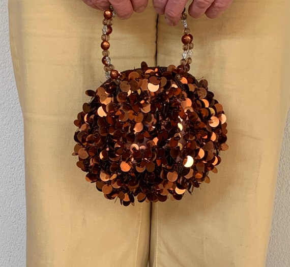 Vintage evening bag | spangles purse| bridal bag | copper spangles | nineties bag | party bag | prom purse | wedding purse | beads handle