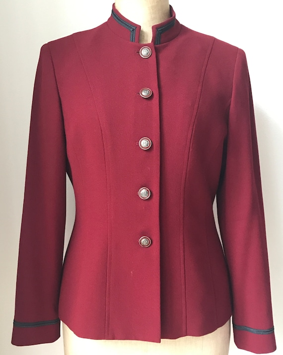 Vintage Kasper A.S.L. jacket | Kasper A.S.L. blazer | dark red jacket | classic style blazer | size 8 US | 38 EUR | 10 UK